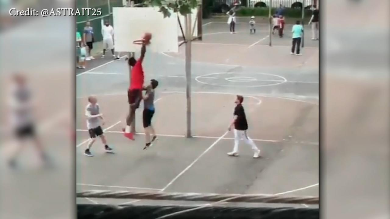 Joel Embiid hits South Philly courts