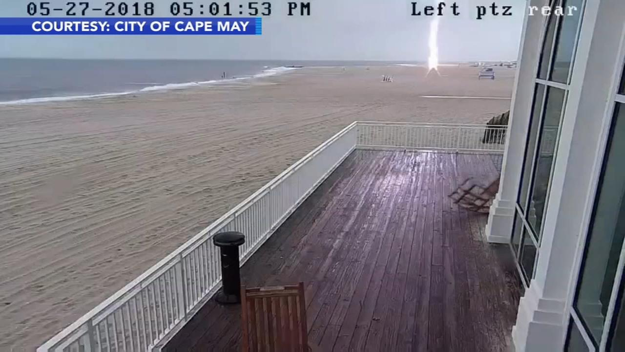 Lightning strikes Cape May life guard stand