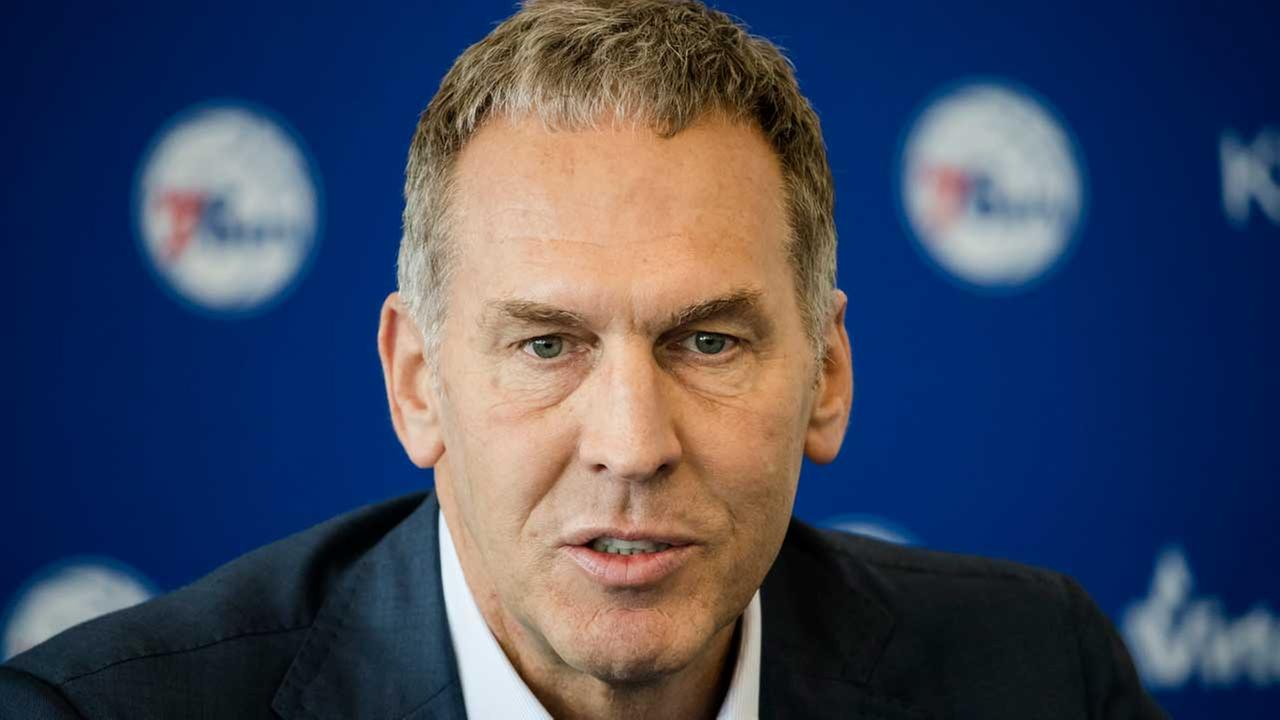 In this May 11, 2018, file photo, Philadelphia 76ers general manager Bryan Colangelo speaks during a news conference at the NBA basketball teams practice facility in Camden, N.J.