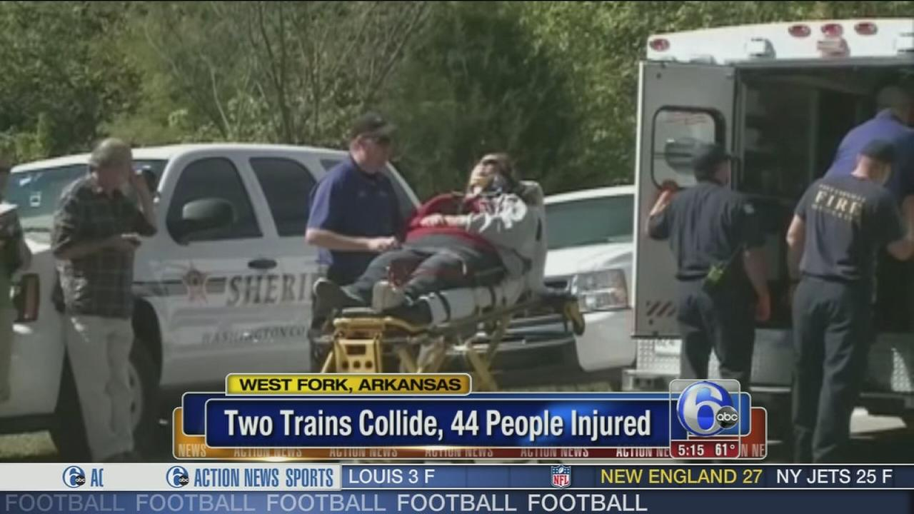 VIDEO: Trains collide in Arkansas, 44 injured