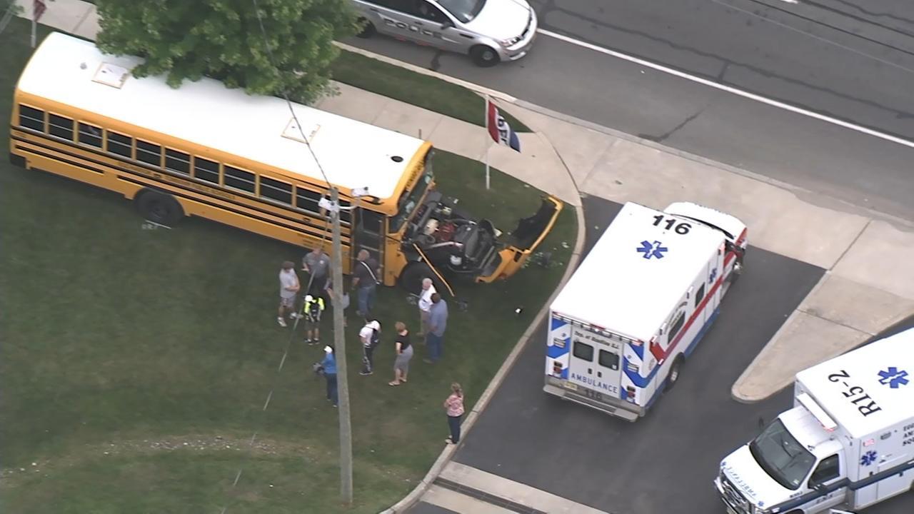 Chopper 6 over school bus crash in Egg Harbor Twp.