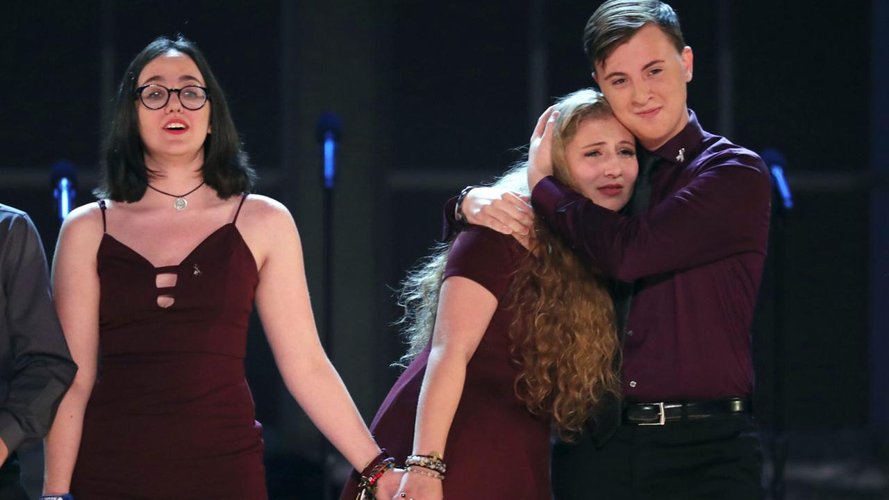 tudents from the Marjory Stoneman Douglas High School drama department react after performing Seasons of Love at the 72nd annual Tony Awards.