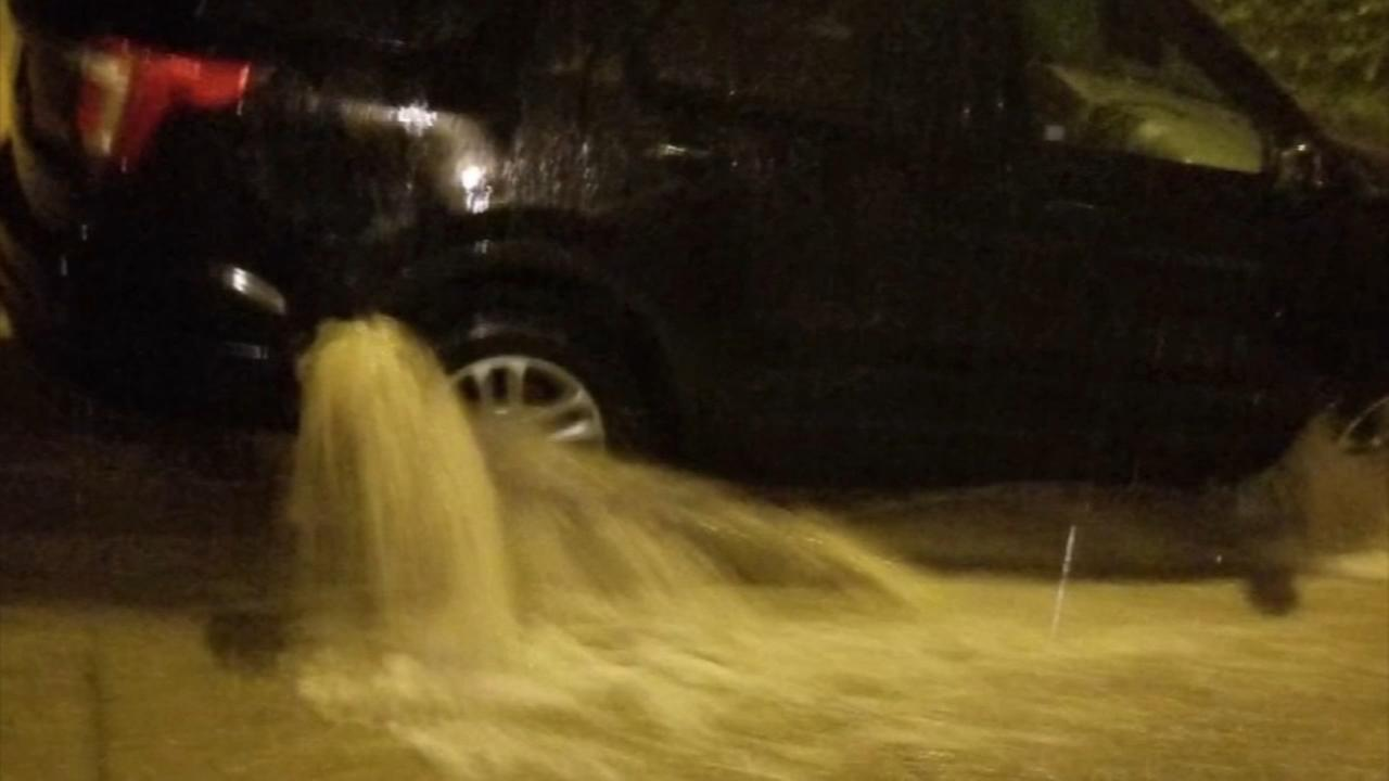 Cars flooded in Roxborough following heavy rains