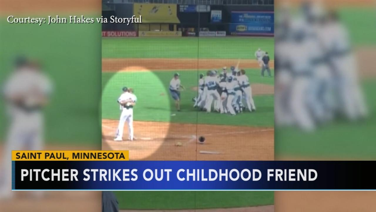 Pitcher strikes out childhood friend