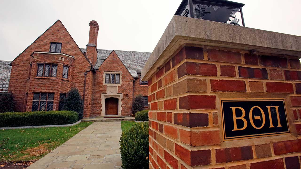 This is the Beta Theta Pi fraternity house on the Penn State University main campus in State College, Pa.on Thursday, Nov. 9, 2017. (AP Photo/Gene J. Puskar)