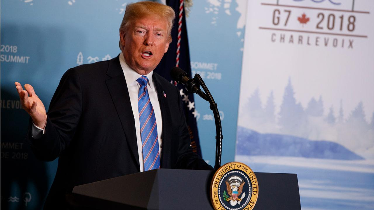 In this June 9, 2018 file photo, President Donald Trump speaks during a news conference at the G-7 summit in La Malbaie, Quebec, Canada.