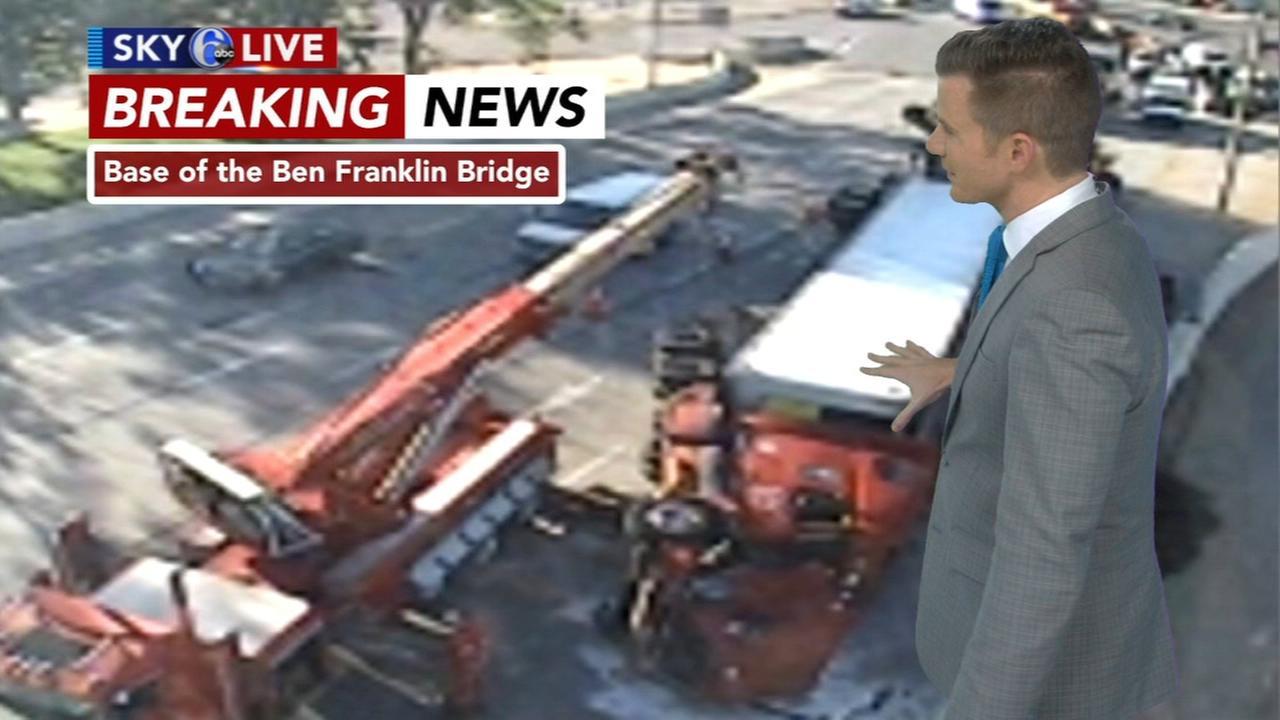 Overturned tractor-trailer jams Ben Franklin Bridge