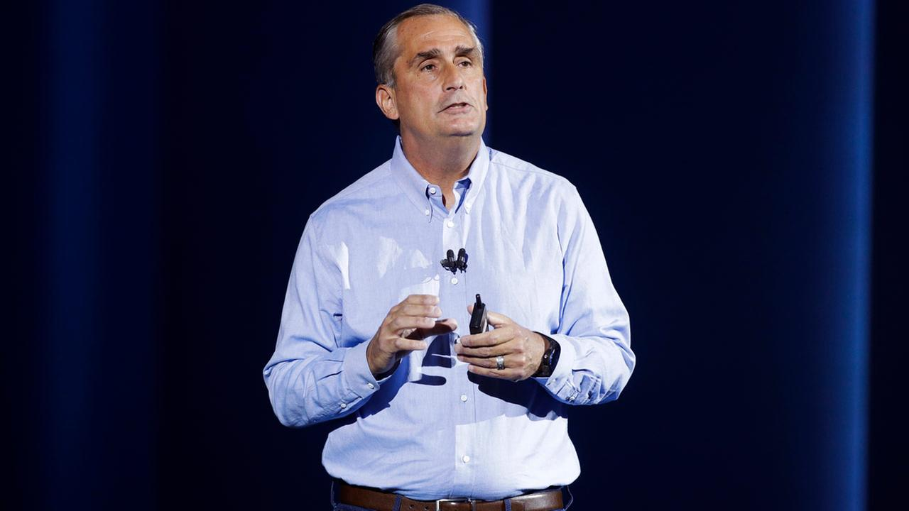 FILE- In this Jan. 8, 2018, file photo, Intel CEO Brian Krzanich delivers a keynote speech at CES International in Las Vegas.