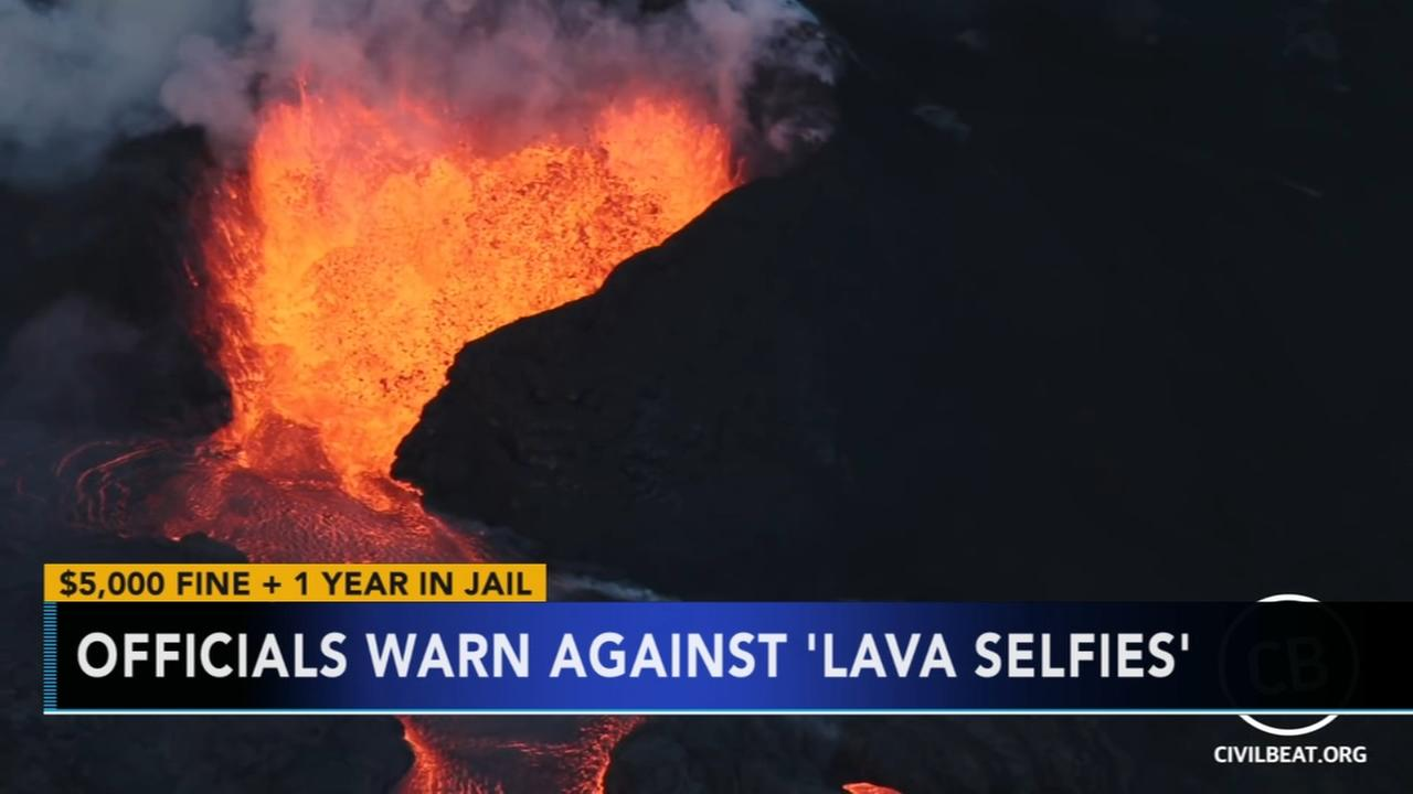 Hawaii officials warn against lava selfies