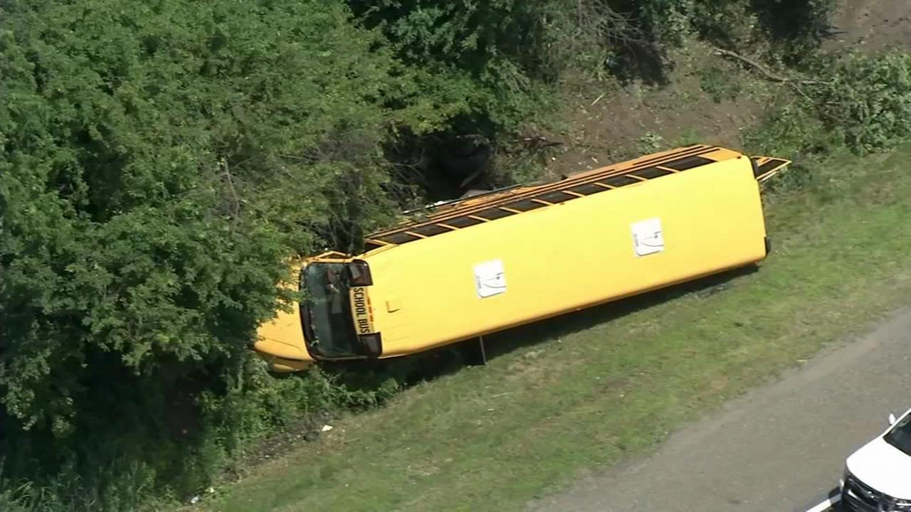 Bus full of campers overturns on NJ Turnpike in Cherry Hill