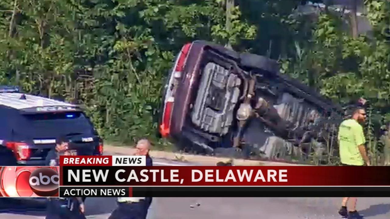 Car flips following crash