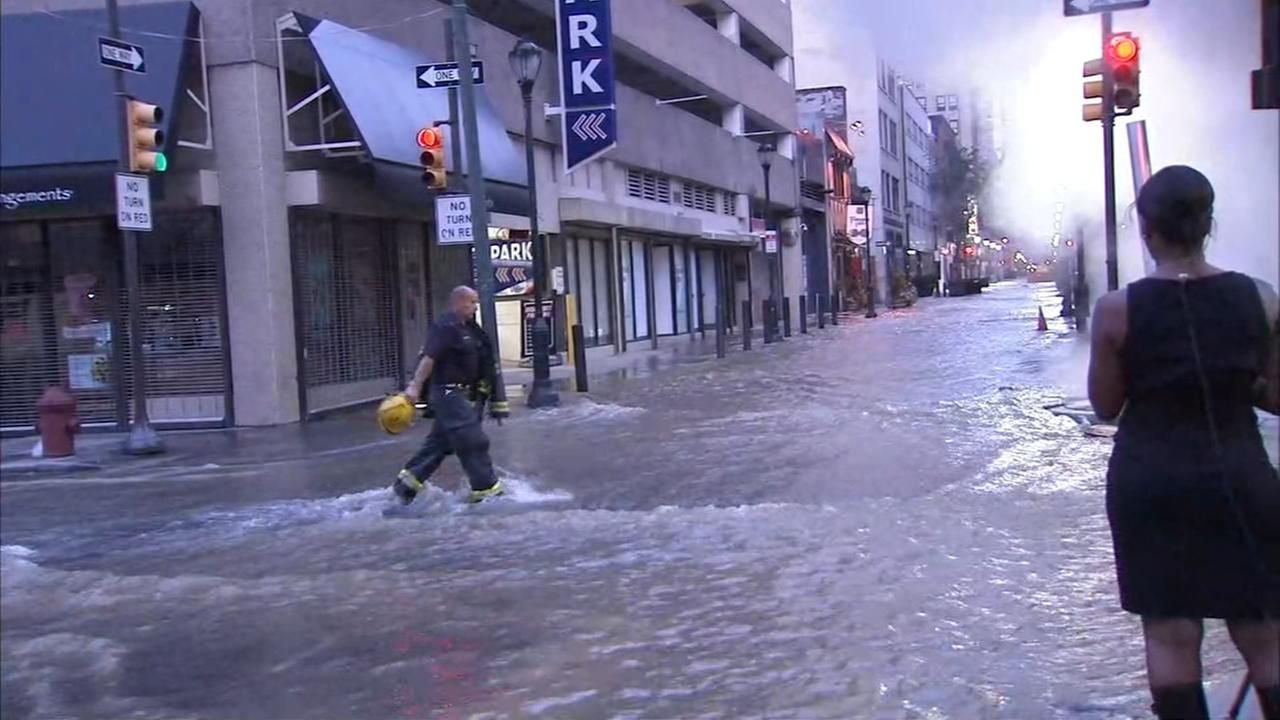 Action Cam video of water main break in Center City