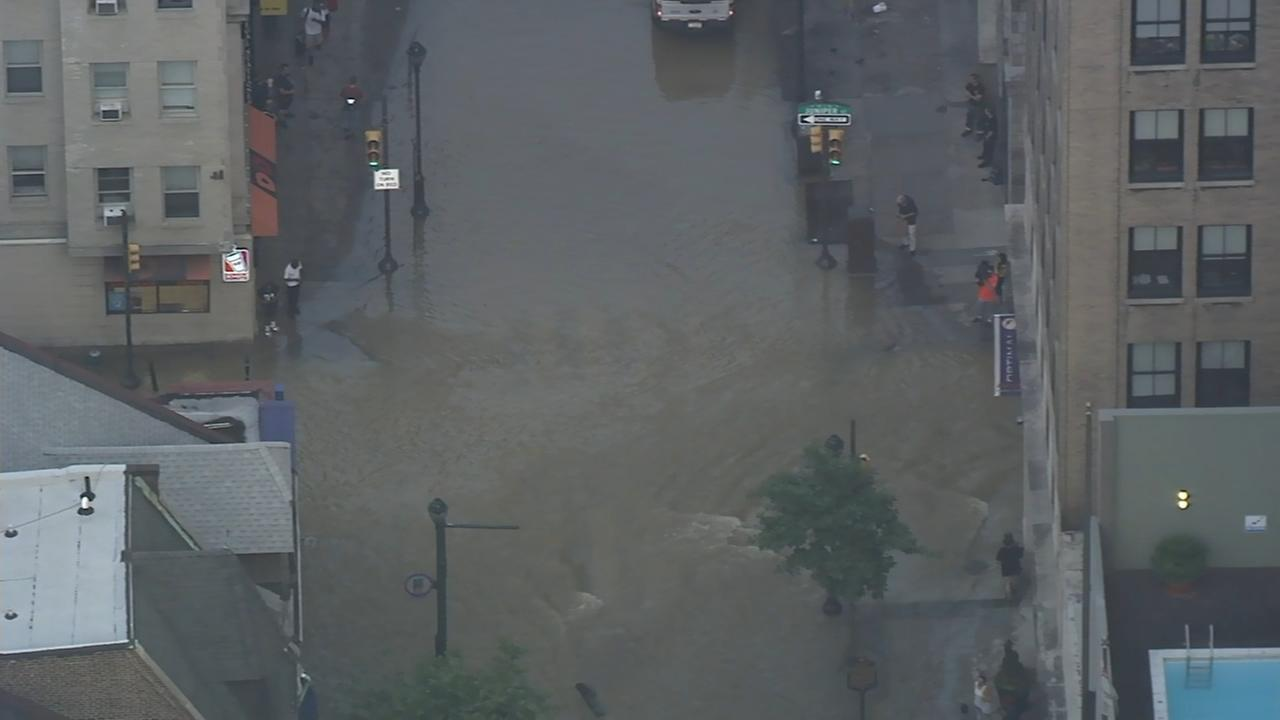 Chopper 6 over water main break in Center City