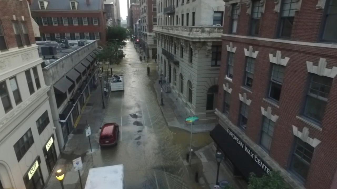Drone 6 video of Center City water main break