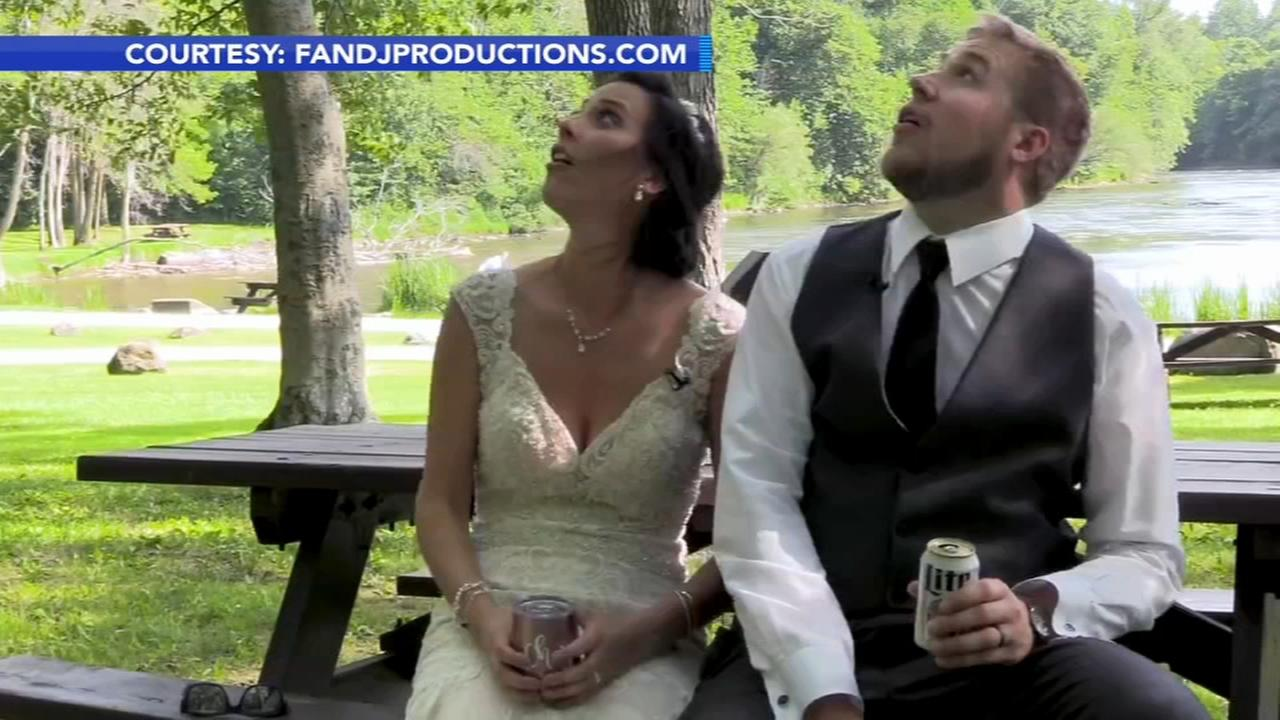 Large tree branch just misses hitting newlyweds in wedding video