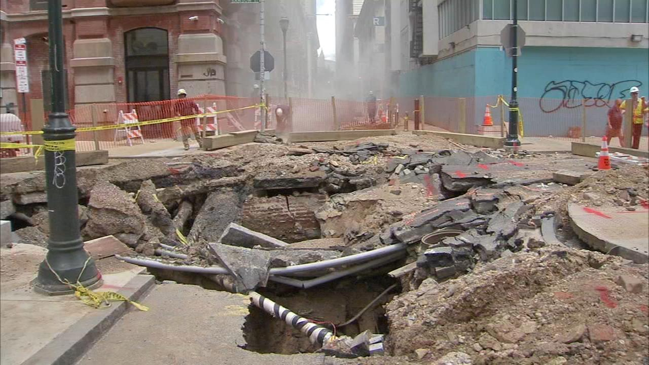 Cleanup continues after Center City water main break
