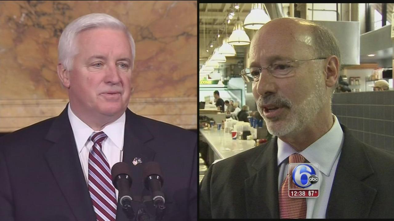 Tom Corbett and Tom Wolf