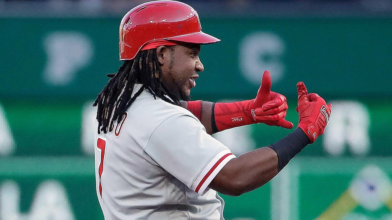 Philadelphia Phillies Maikel Franco celebrates on second base after driving in two runs with a double in the second inning on Friday, July 6, 2018. (AP Photo/Gene J. Puskar)