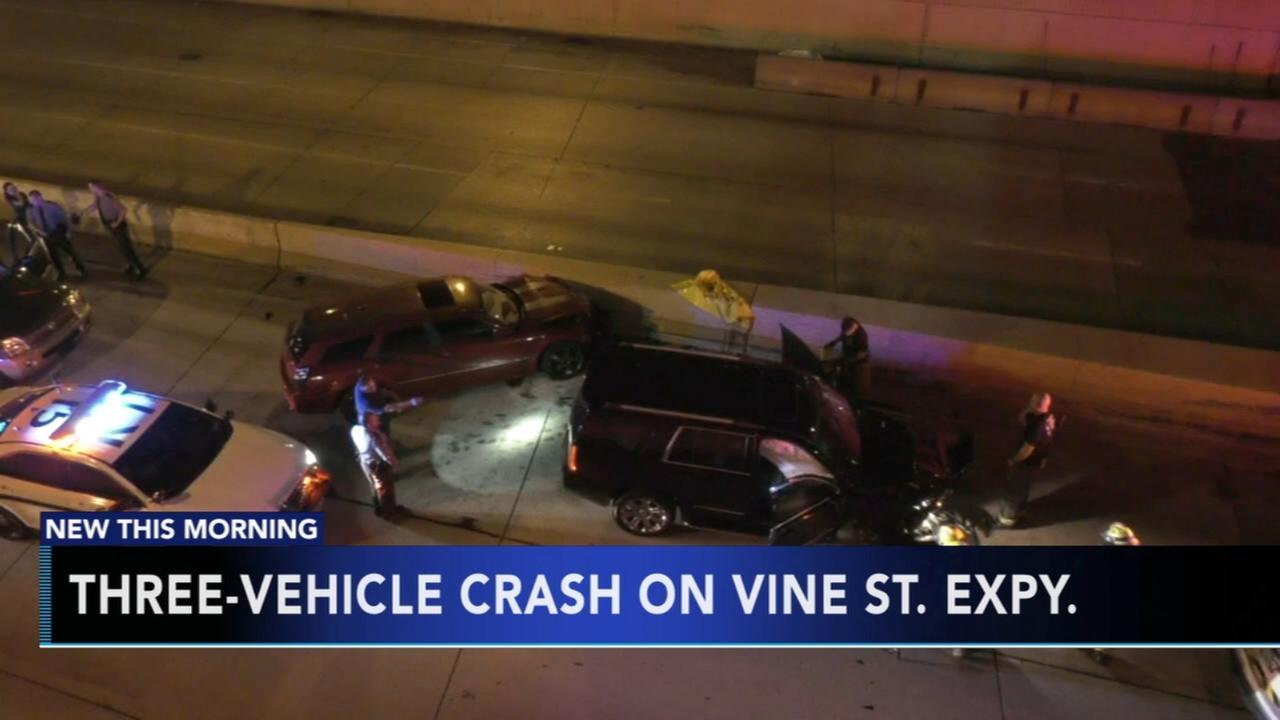 2 hospitalized following multi-vehicle crash on the Vine Street Expressway