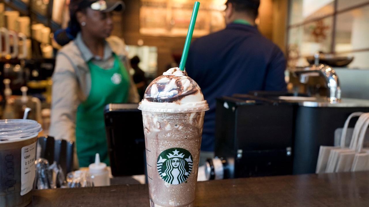 A Venti Mocha Frappuccino is displayed at a Starbucks, Wednesday, June 20, 2018, in New York.