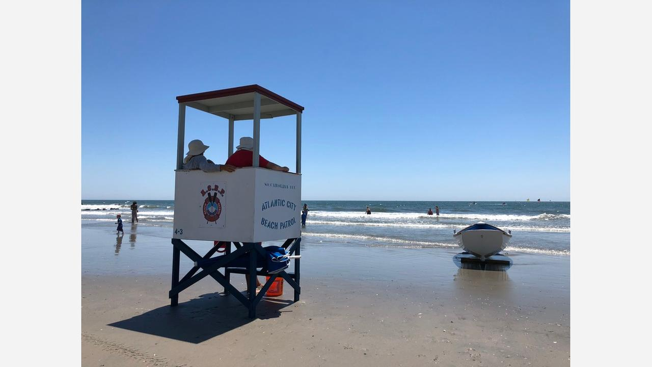 Lifeguards watch over the beach in Atlantic City, New Jersey on July 10, 2018.