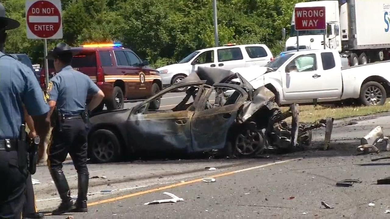 Several injuries after multi-vehicle crash and fire in Delaware