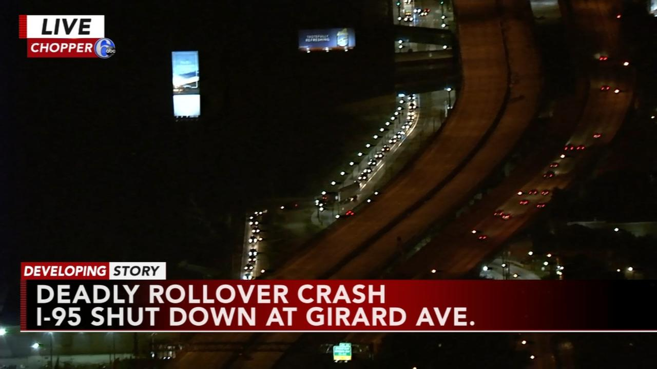 Rollover crash shuts down i-95