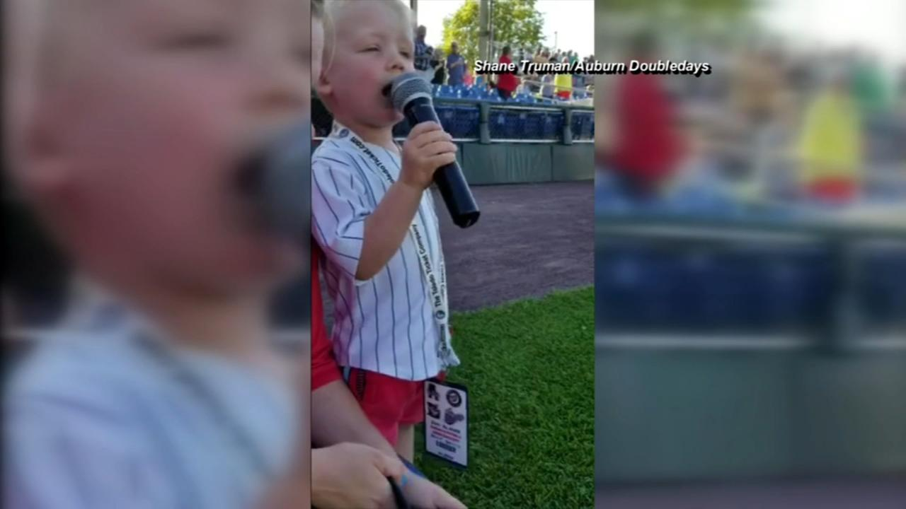 Toddlers rendition of the national anthem goes viral