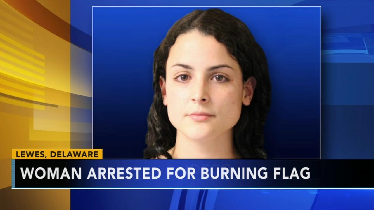 Police: Woman arrested for stealing and burning flag in Delaware