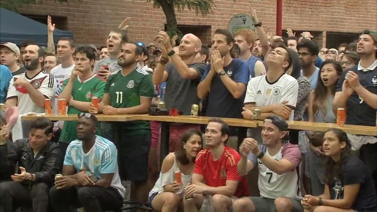 World Cup fans gather on South Street for finals viewing party