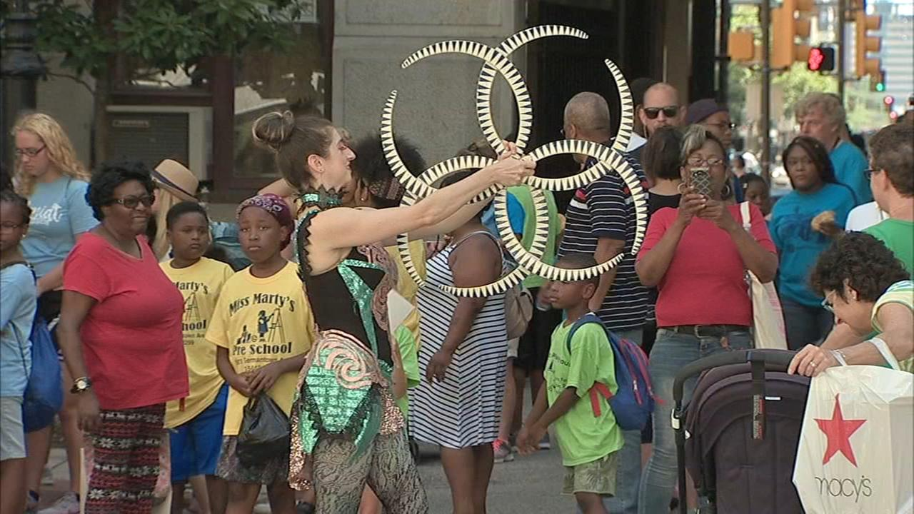 A free day of art camp for youngsters, outside of Philadelphia city hall