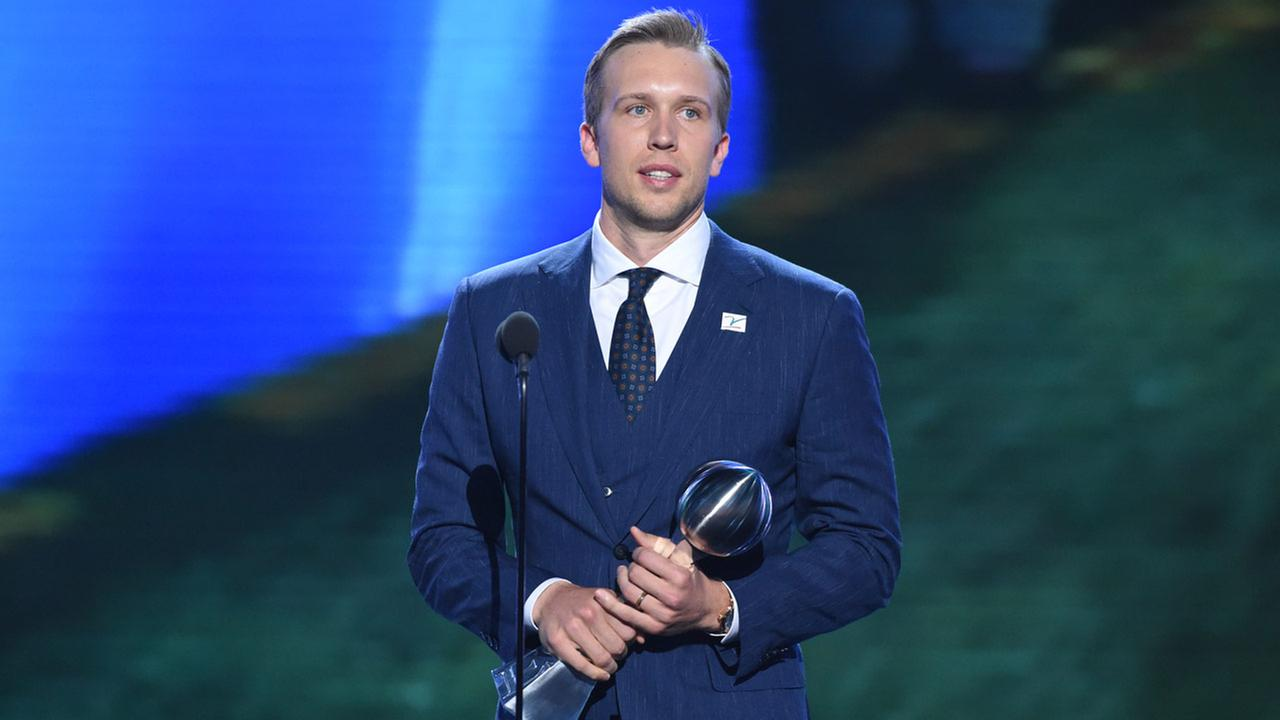 Philadelphia Eagles Nick Foles accepts the award for best championship performance, in Super Bowl 52, at the ESPY Awards at Microsoft Theater on Wednesday, July 18, 2018.
