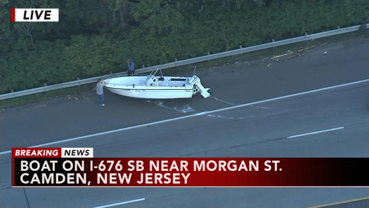 Boat lands on I-676 in Camden