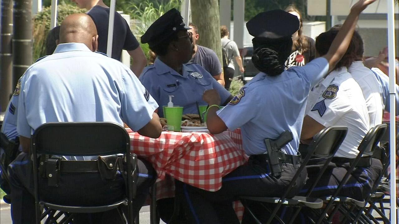 A Philadelphia church honors local police officers with a cookout