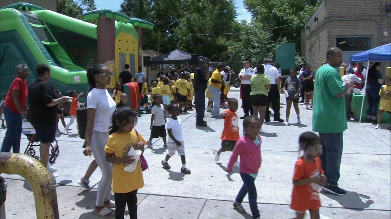 Philadelphia police officers meet with members of the community