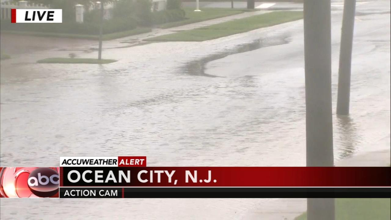 Heavy rain brings rough conditions at the Jersey Shore