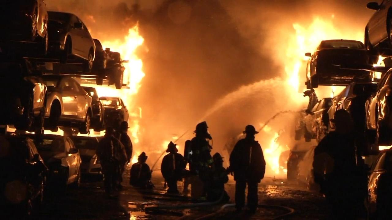 Hundreds of vehicles caught fire at Delaware salvage yard