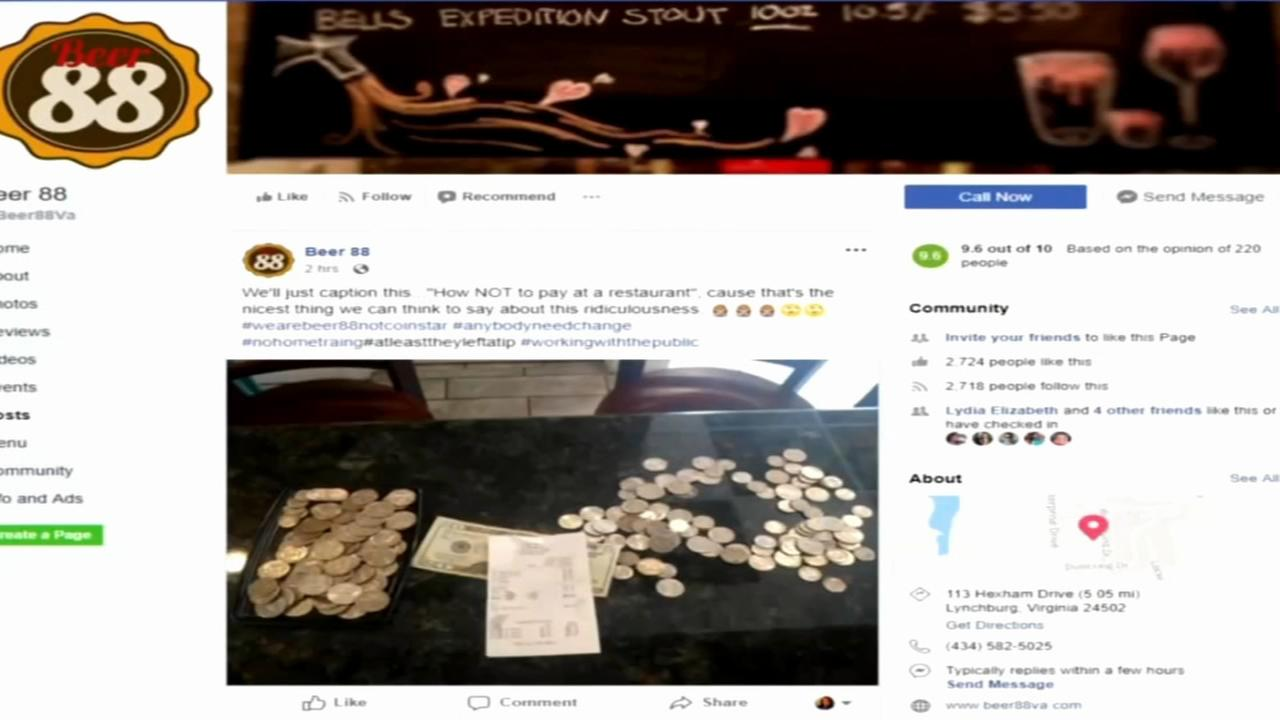 Virginia restaurant accused of mocking customer who paid bill in coins