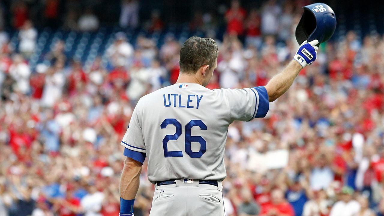 FILE: Los Angeles Dodgers Chase Utley during a baseball game against the Philadelphia Phillies, Tuesday, Aug. 16, 2016, in Philadelphia.