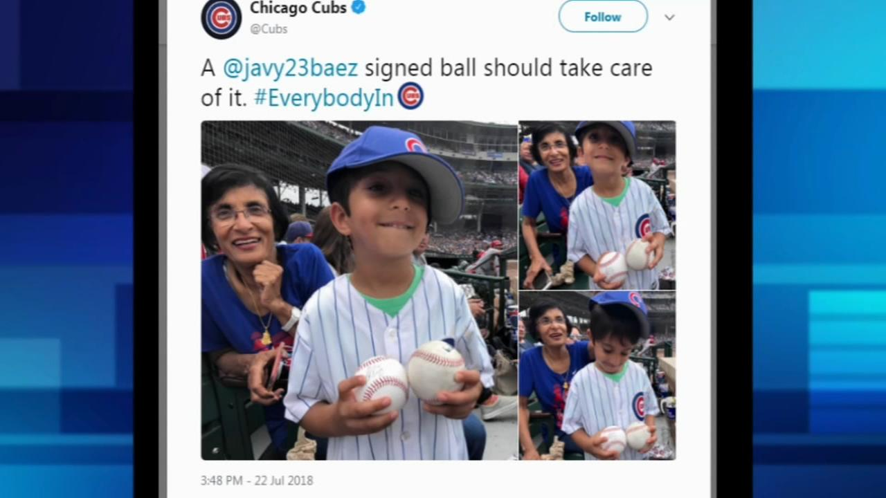Cubs give child a baseball to right a wrong by another fan