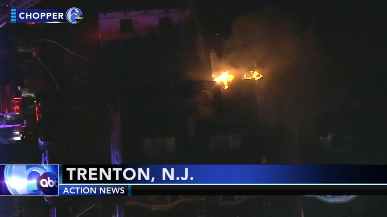 Firefighters battle fire in Trenton