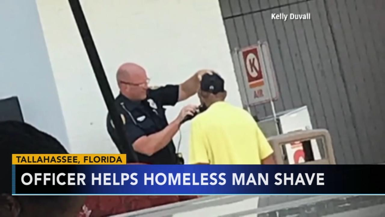 Officer helps homeless man shave