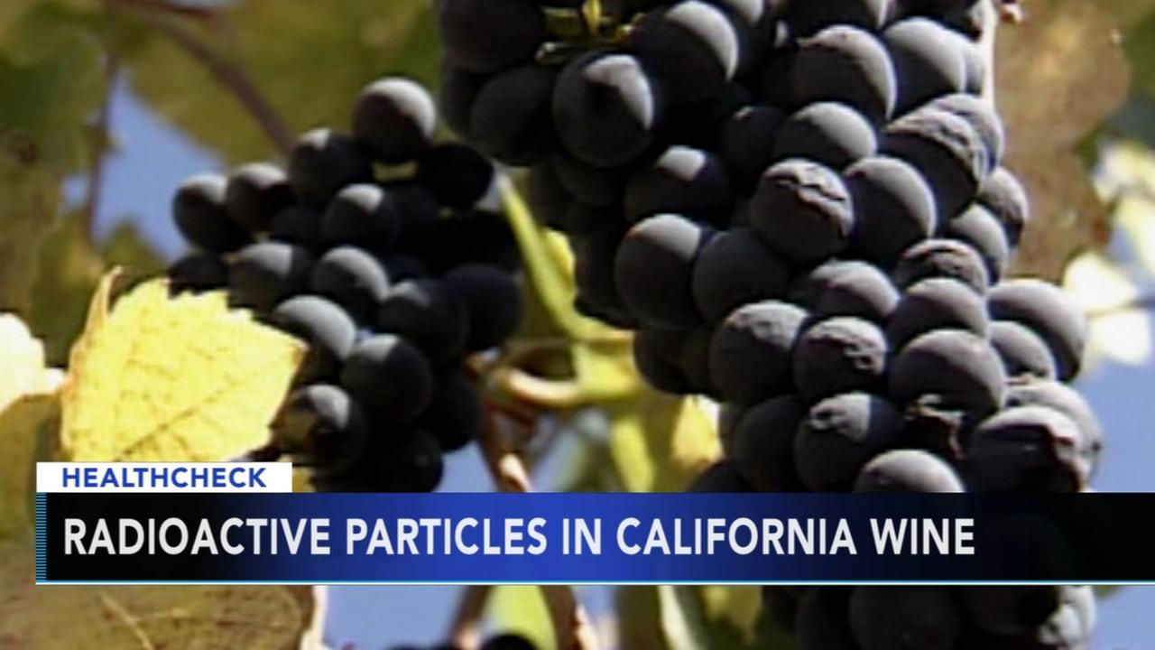Radioactive particles in California wine