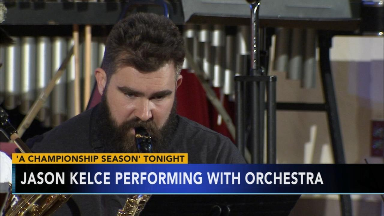 Jason Kelce performing with orchestra