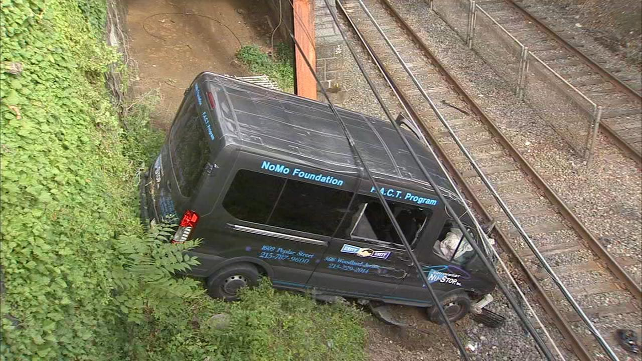 Van falls onto SEPTA tracks after crash in Southwest Philadelphia