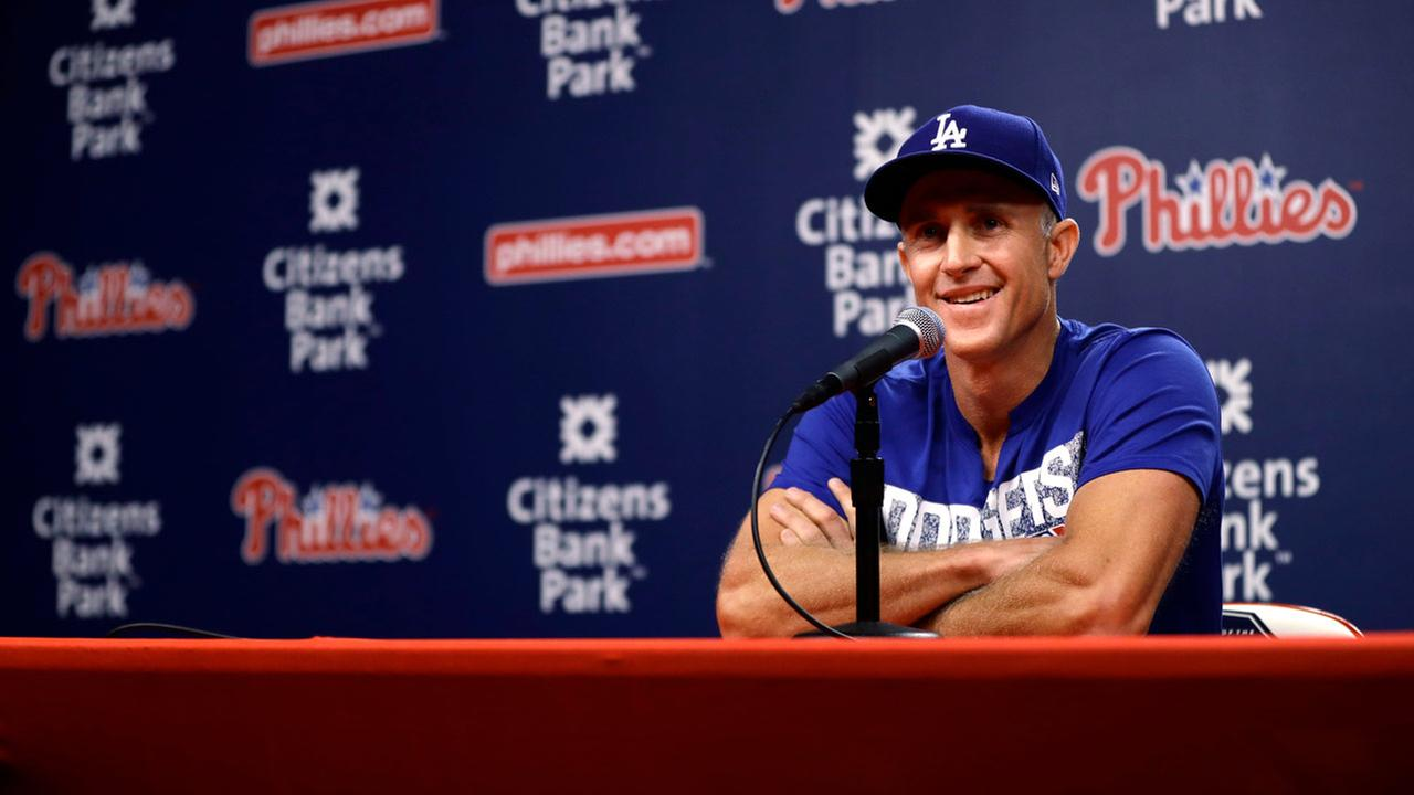 Los Angeles Dodgers Chase Utley smiles while speaking during a news conference before a baseball game against the Philadelphia Phillies, Monday, July 23, 2018, in Philadelphia.