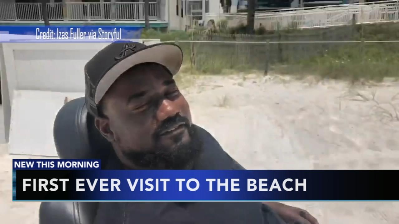 Friend surprises man with first-ever beach trip after staying home 20 years