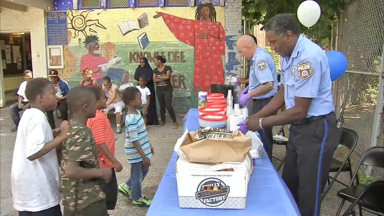 Police serve water ice, pretzels in West Philadelphia