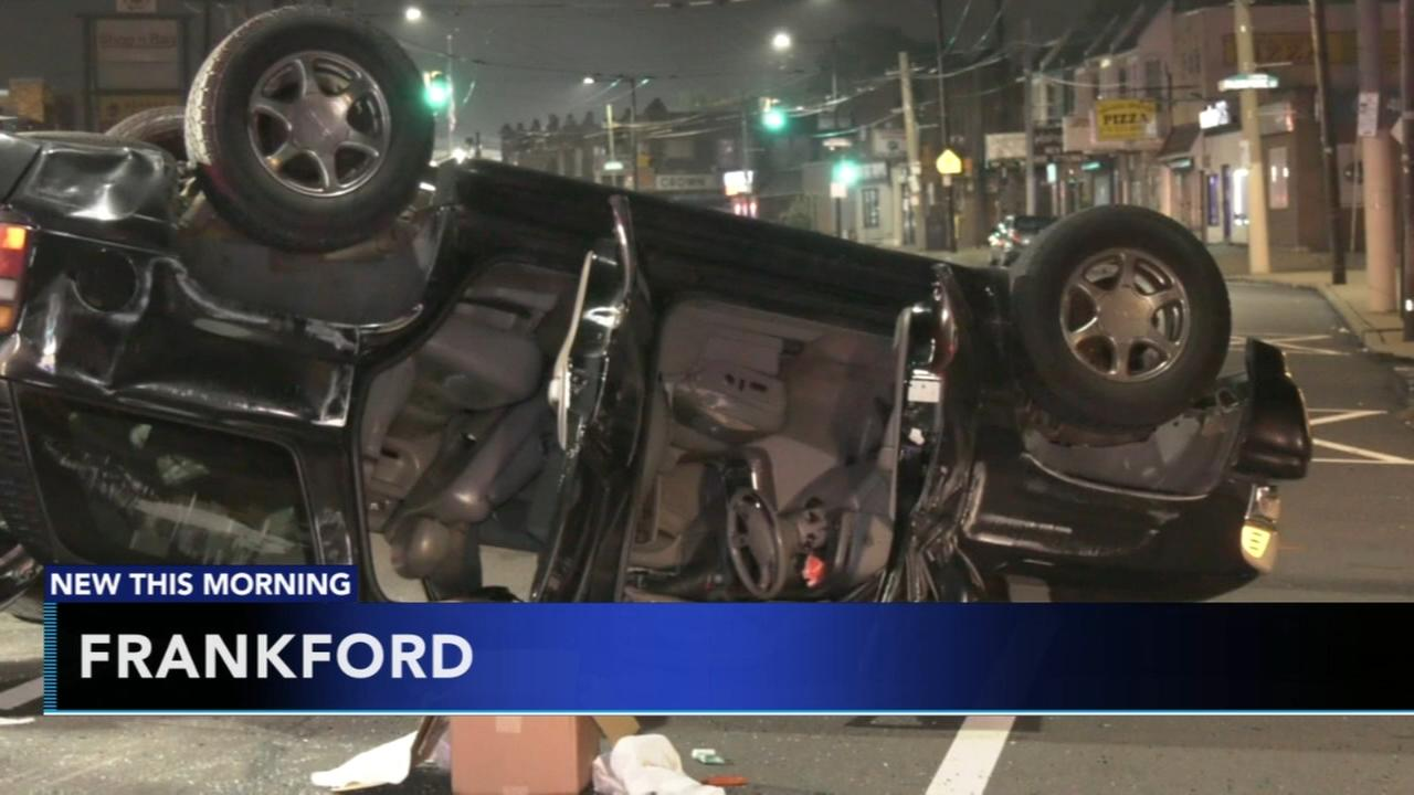 Collision causes SUV to overturn on Frankford Avenue