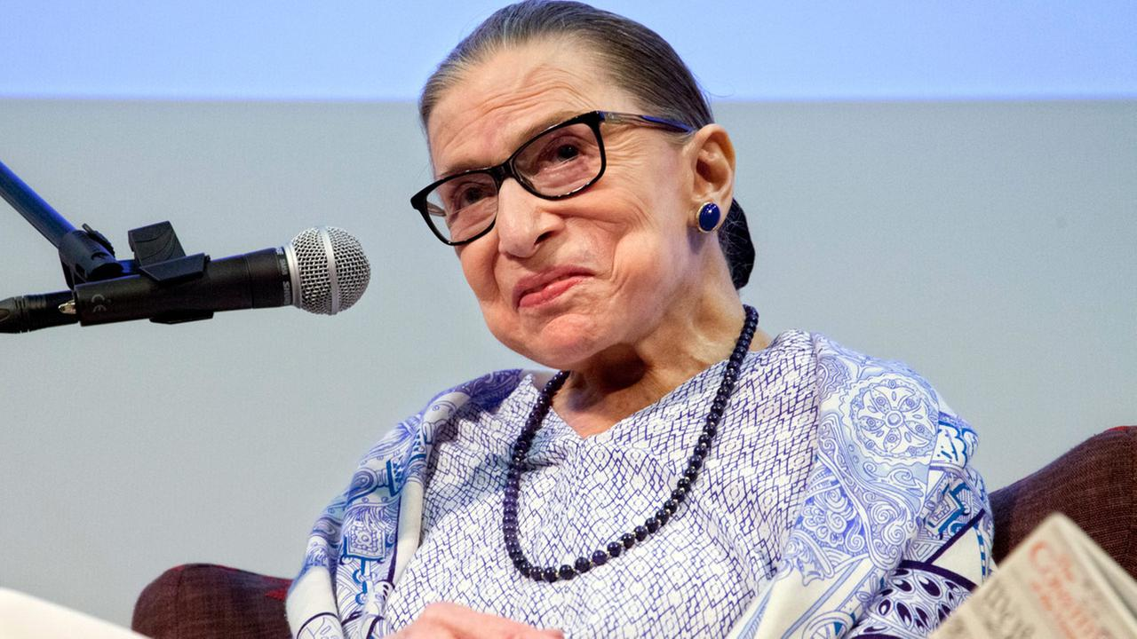 US Supreme Court Justice Ruth Bader Ginsburg speaks after the screening of RBG, the documentary about her, in Jerusalem, Thursday, July 5, 2018.